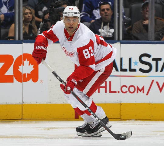 Red Wings' Trevor Daley skates in his 1000th NHL game against the Maple Leafs at Scotiabank Arena on Dec. 23, 2018 in Toronto.