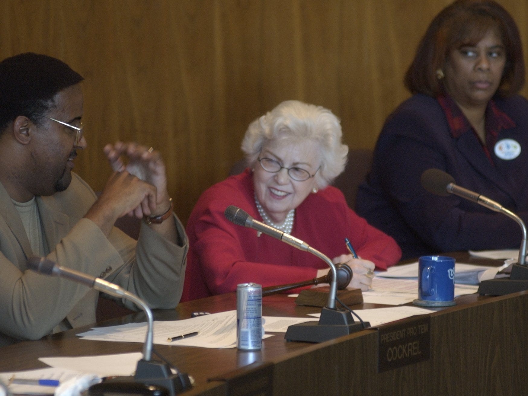 In this 2002 photo from the Detroit Free Press archive, Detroit City Council members Kenneth Cockrel Jr., President Maryann Mahaffey and Alberta Tinsley-Talabi prepare to vote  on having permanent casino-hotels in detroit. Councilman.