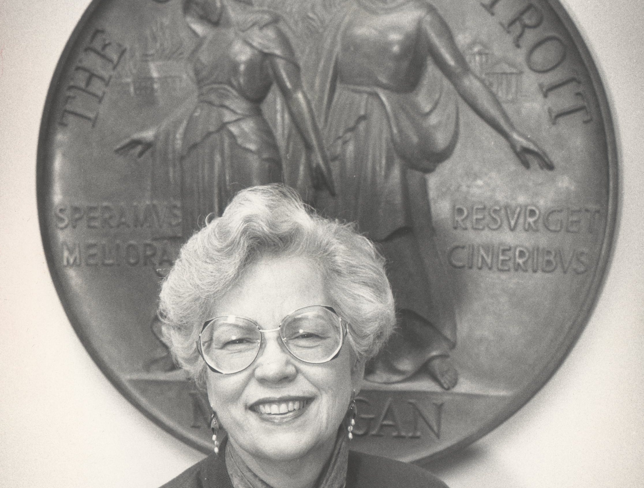 Maryann Mahaffey in front of the seal of the city in the council chambers at the City County Building on October 10, 1987.