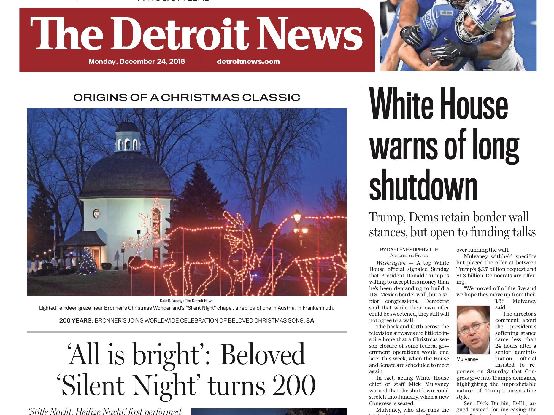 The front page of the Detroit News on December 24, 2018.