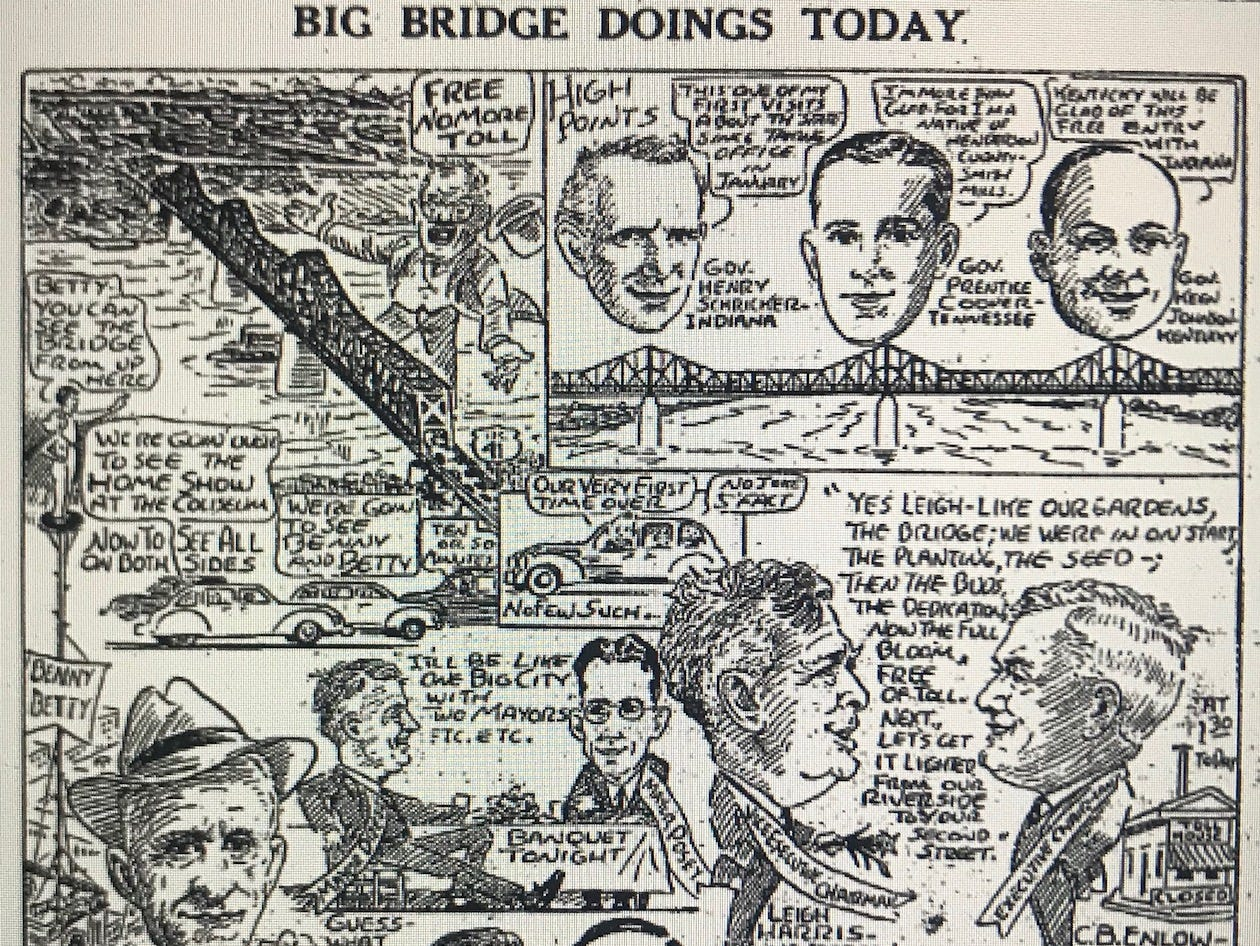 A cartoon by Karl Kae Knecht marking the ending of tolls on the Ohio River bridge between Evansville and Henderson.