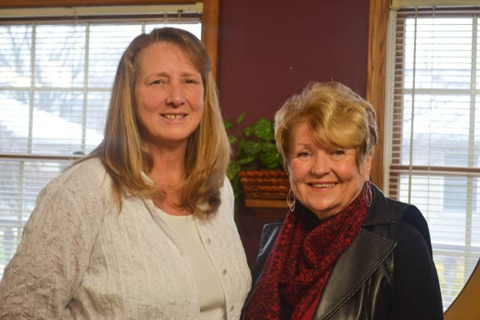 Donna Miller, left, and Barb Engler-Moran are part of a team of women who lead Bible studies at healthcare communities each month.