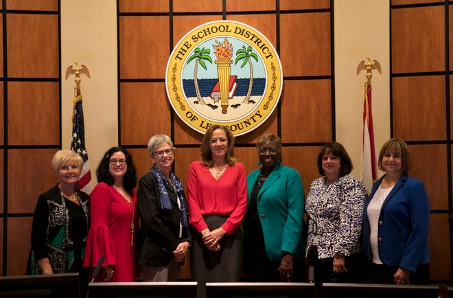 The Lee County school board:  From left to right are Mary Fischer, Melisa Giovannelli, Cathleen Morgan, Chris Patricca, Gwyn Gittens, Debbie Jordan and Betsy Vaughn.