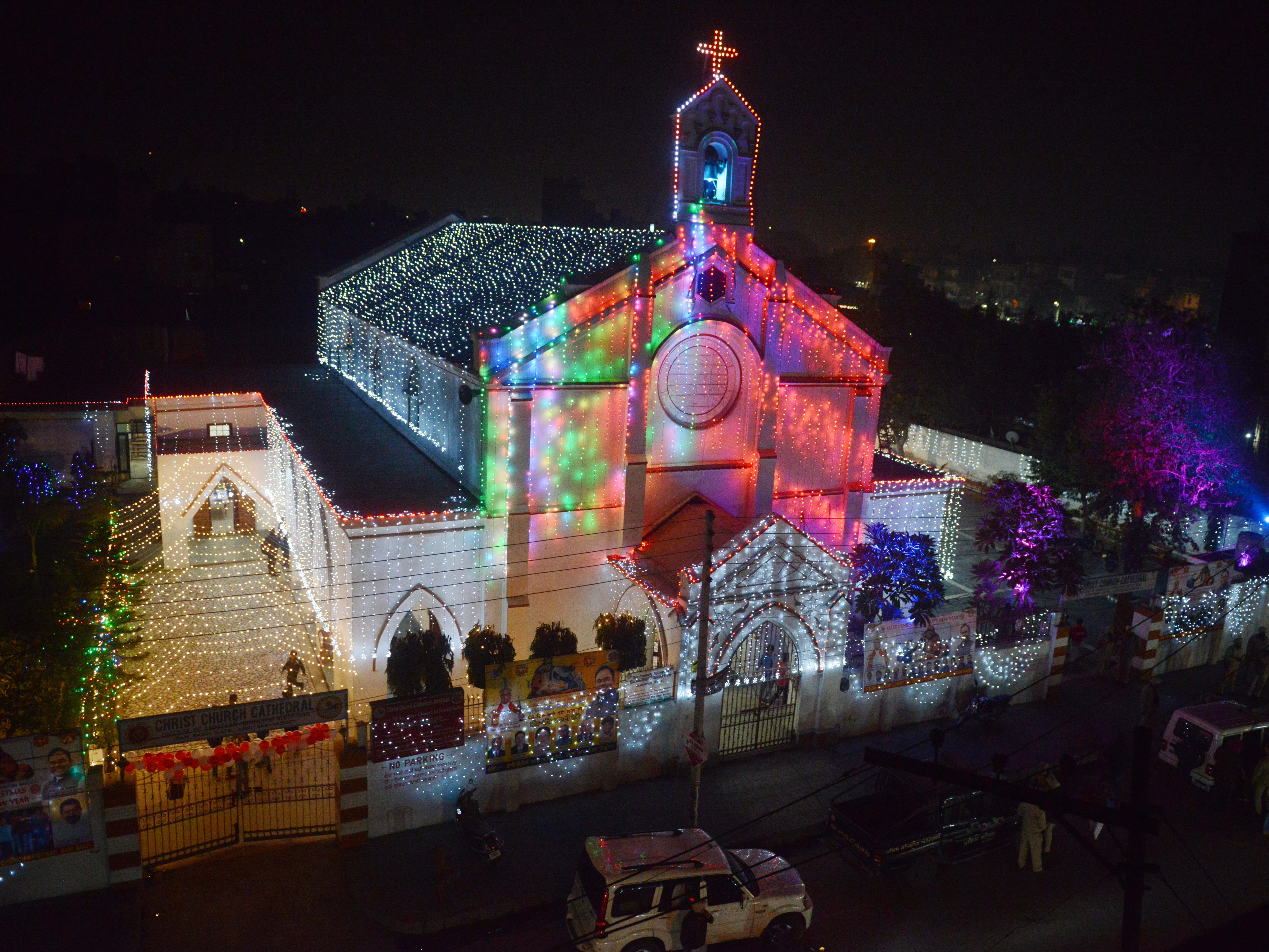 The Christ Church Cathedral is decorated with lights on the eve of Christmas celebration in Amritsar on December 24, 2018.