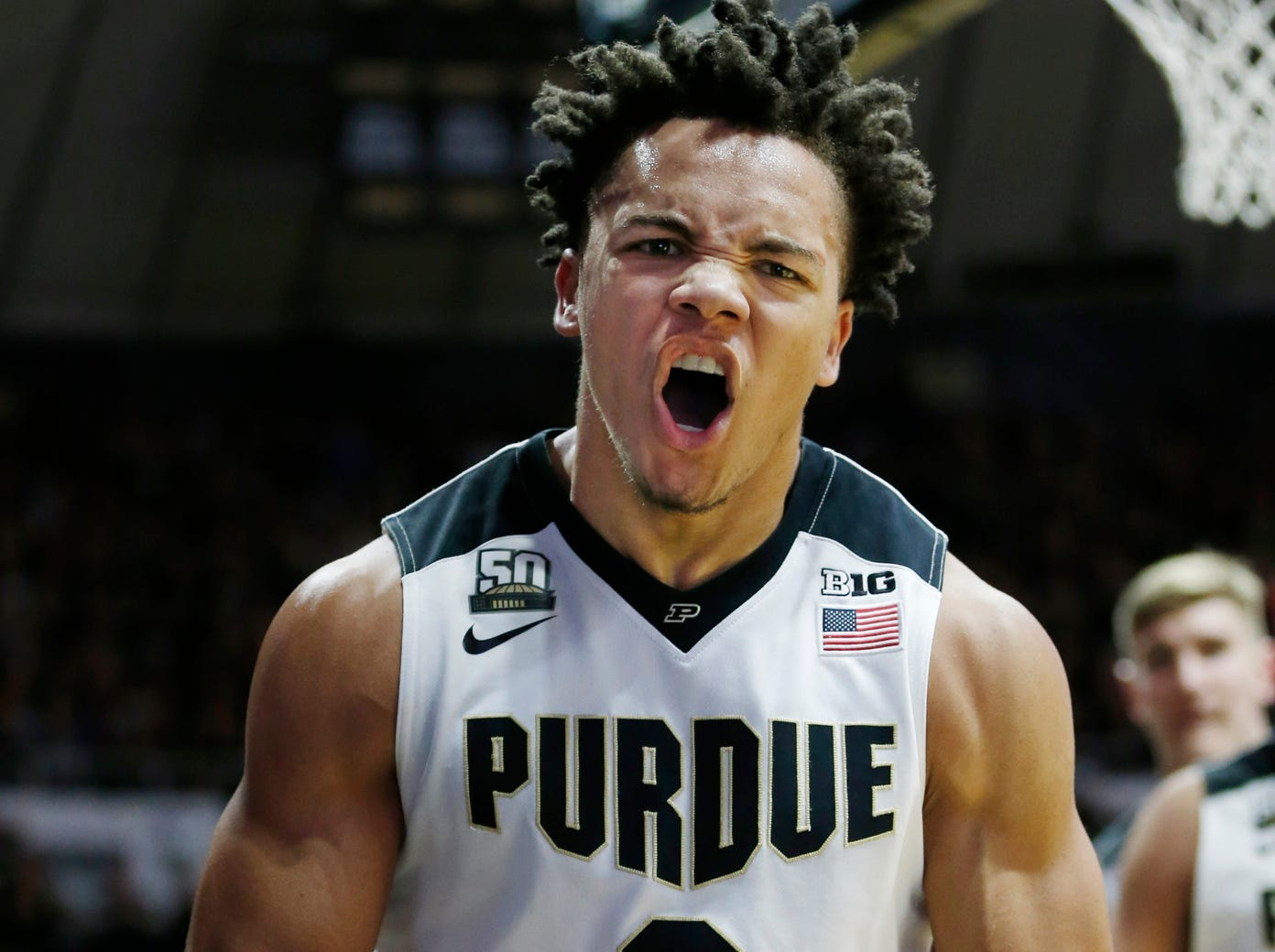 Carsen Edwards lets out a scream after scoring and drawing a Penn State foul in the second half Sunday, February 18, 2018, at Mackey Arena. Purdue defeated Penn State 76-73.