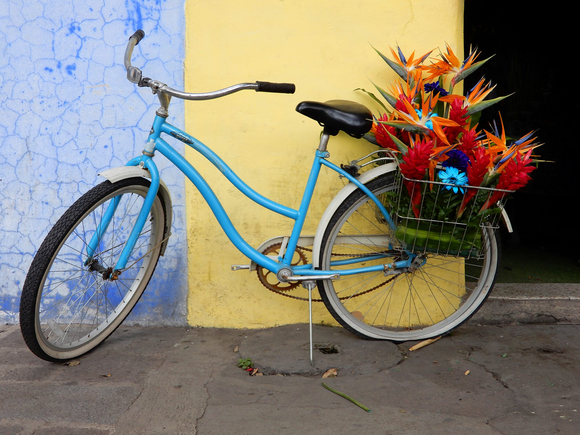 Bicycle with flowers Antigua, Guatemala.