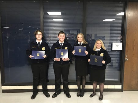 These River Valley FFA members were finalistsin the County Greenhand knowledge quiz. From left, are Luke Strine, Xander Clark, Zachary Cunningham, Maci Carter and Kyla Stockdale.