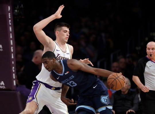 Memphis Grizzlies' Jaren Jackson Jr., right, is defended by Los Angeles Lakers' Ivica Zubac during the first half of an NBA basketball game Sunday, Dec. 23, 2018, in Los Angeles. (AP Photo/Marcio Jose Sanchez)