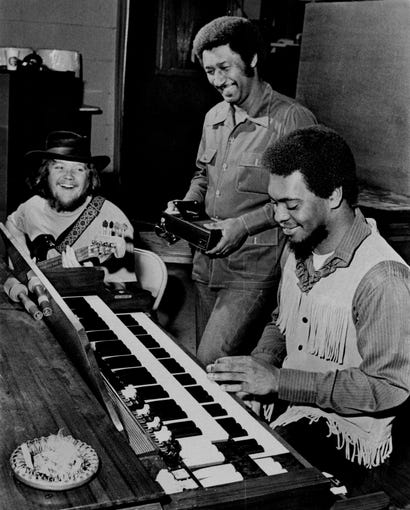 Three members of Booker T. and the MGs (left to right) Duck Dunn, Al Jackson and Booker T. Jones at STAX in a photograph dated Jan. 21, 1970. Fourth member, Steve Cropper, was in New York, producing a group, the Dramatics, for Paramount, and was expected back in a day or two. The group was to tape a television show the following Saturday with Creedence Clearwater Revival and leave Feb. 17 for a tour of Europe.