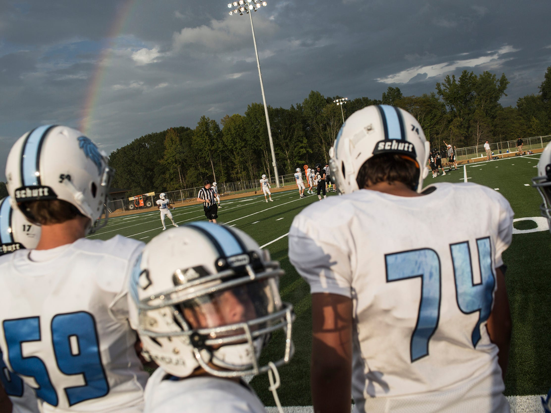 September 06 2018 - A rainbow is seen over the field during the first home game to take place at Lakeland Middle School. Until the start of this game, all of Lakeland Middle School's football games were played away.