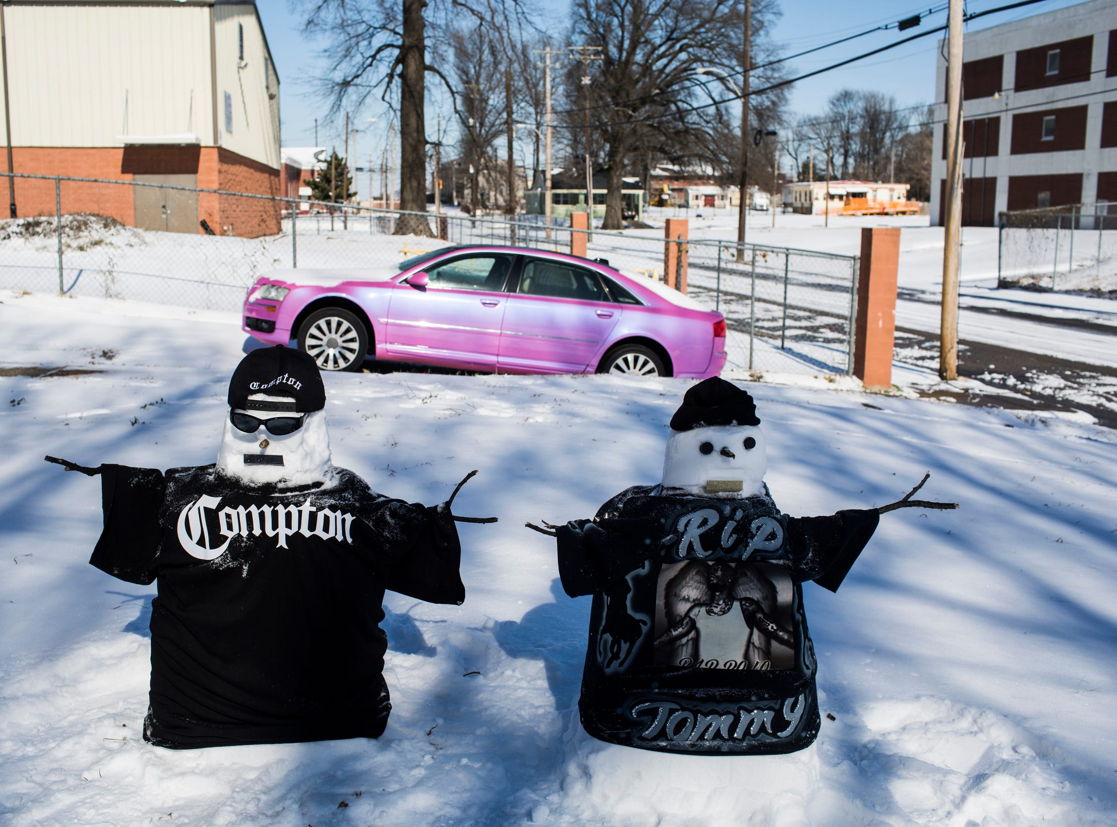 """January 16, 2018 - James Child created two snowmen on Tuesday to honor his friends that were shot and killed just a few blocks from his home on Sunday. """"I've known them since we were little bitty,"""" Child said about their friendship that first started when they met in Vance Middle School. """"I heard it was over a dice game and a misunderstanding. It just got out of hand,"""" Child said. Corey Evans and Teronzel Cox were shot and killed Sunday morning at the Cleaborn Pointe at Heritage Landing apartments."""