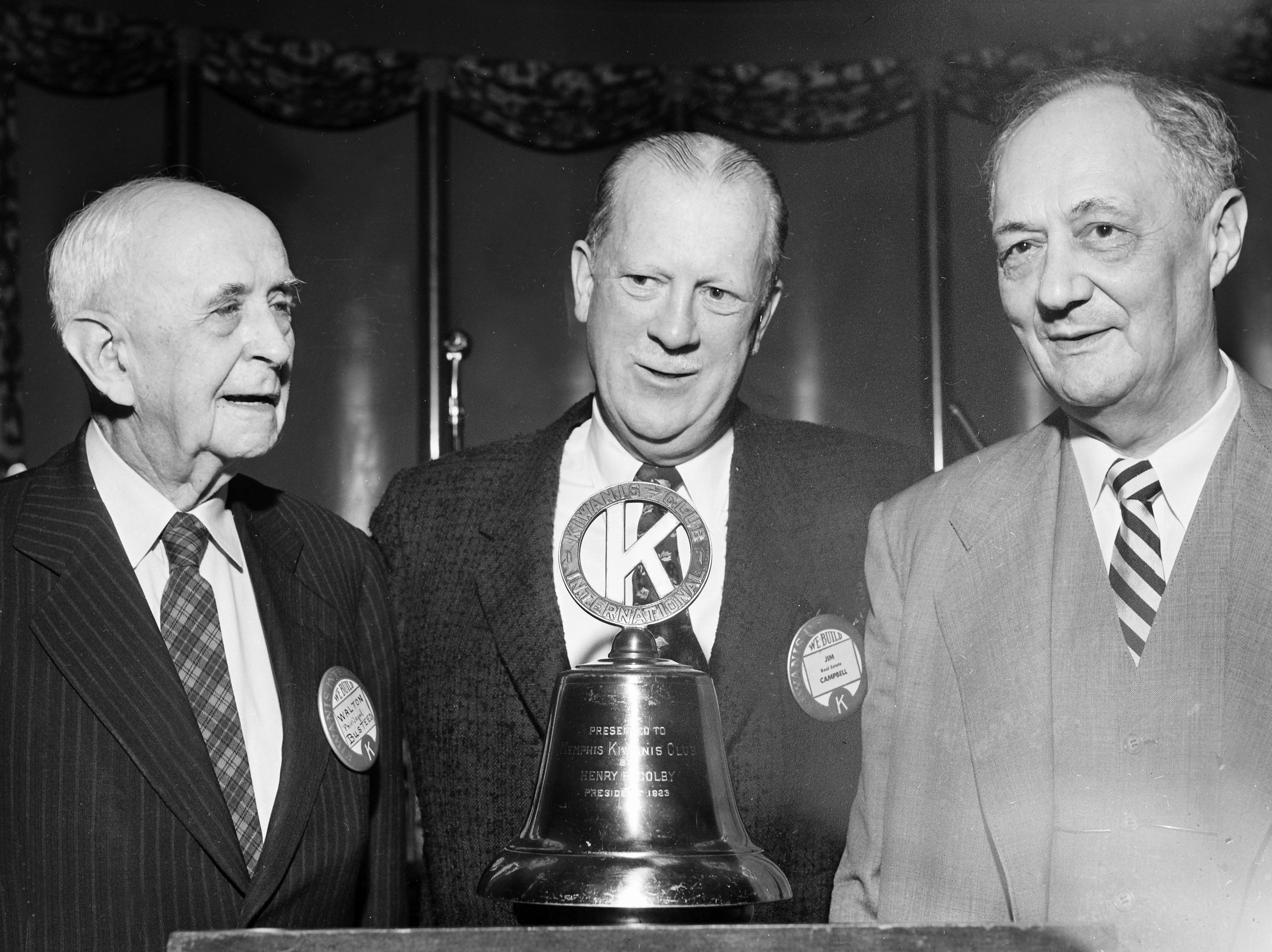 Among a number of past presidents of the Memphis Kiwanis Club attending a luncheon in January 1956, marking the 41st anniversary of Kiwanis International were Lee Winchester Sr. (Right), who served as first president in 1918; W. M. Busteed (Left) president in 1924, and James Campbell, the club's president this year.