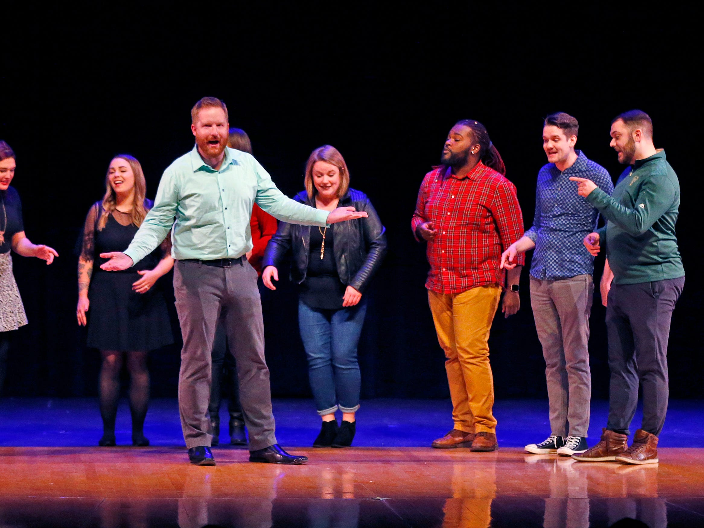 """The group 5 AM sings a cappella """"Shut Up and Dance With Me"""" during the 2018 Rocket Review to benefit the South Milwaukee High School Theatre Company at the Performing Arts Center on Dec. 20."""