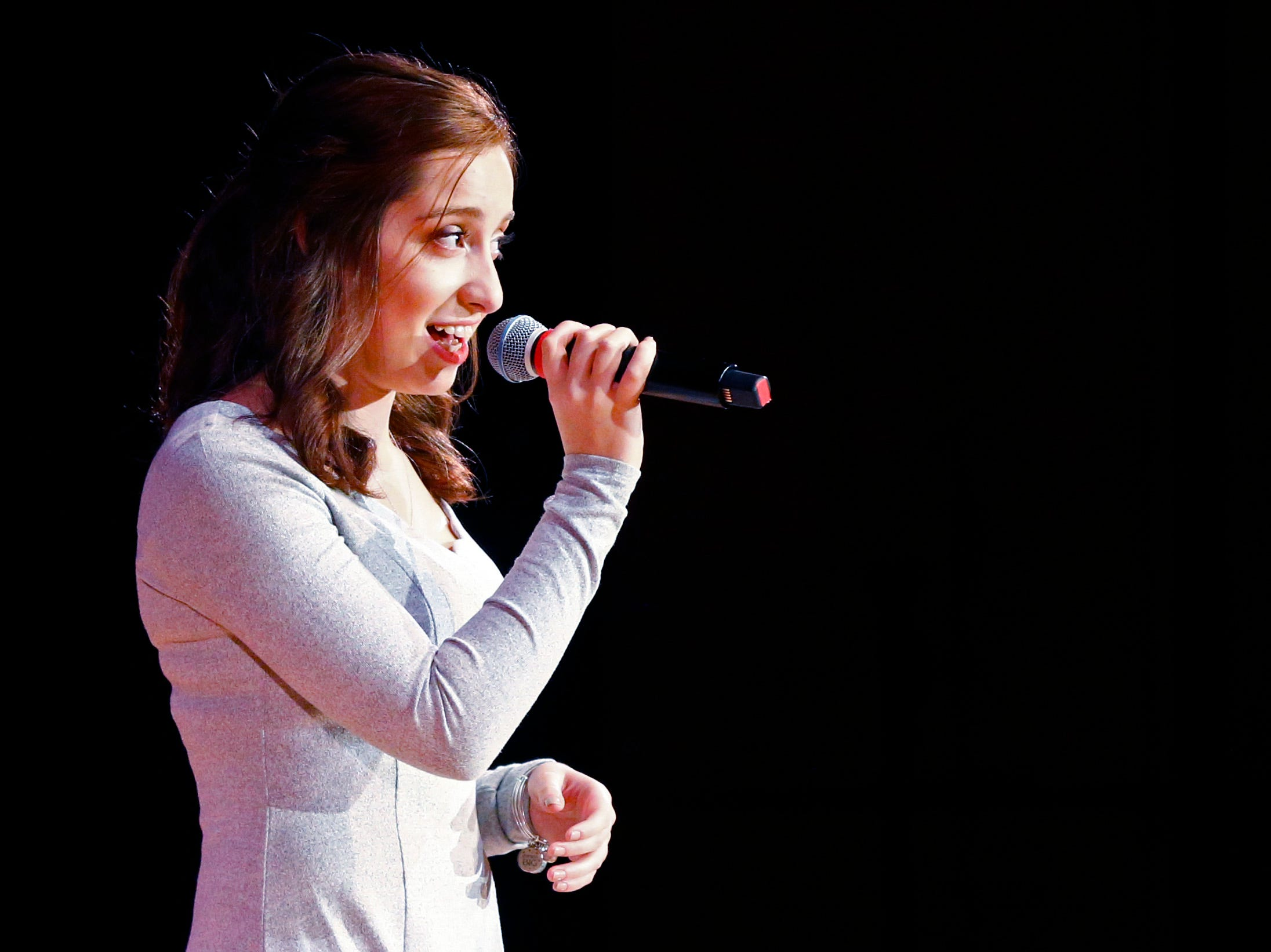 """Alexa Wilhelm sings """"The Christmas Song"""" during the 2018 Rocket Review to benefit the South Milwaukee High School Theatre Company at the Performing Arts Center on Dec. 20."""