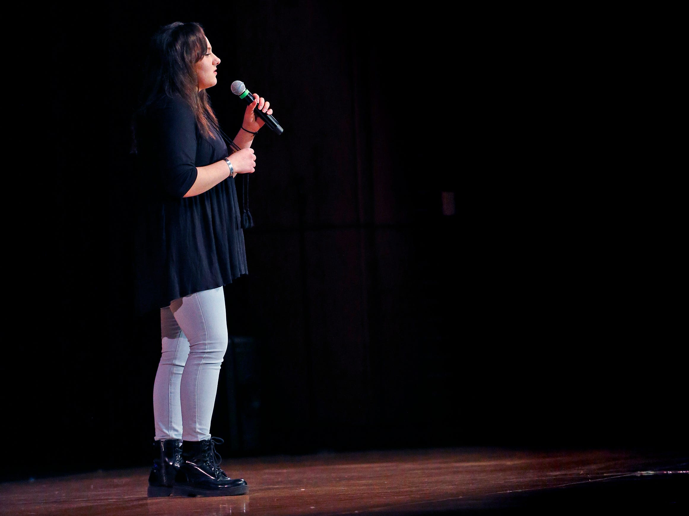 """Kailin Lambert sings """"I Don't Want To Be You Anymore"""" during the 2018 Rocket Review to benefit the South Milwaukee High School Theatre Company at the Performing Arts Center on Dec. 20."""