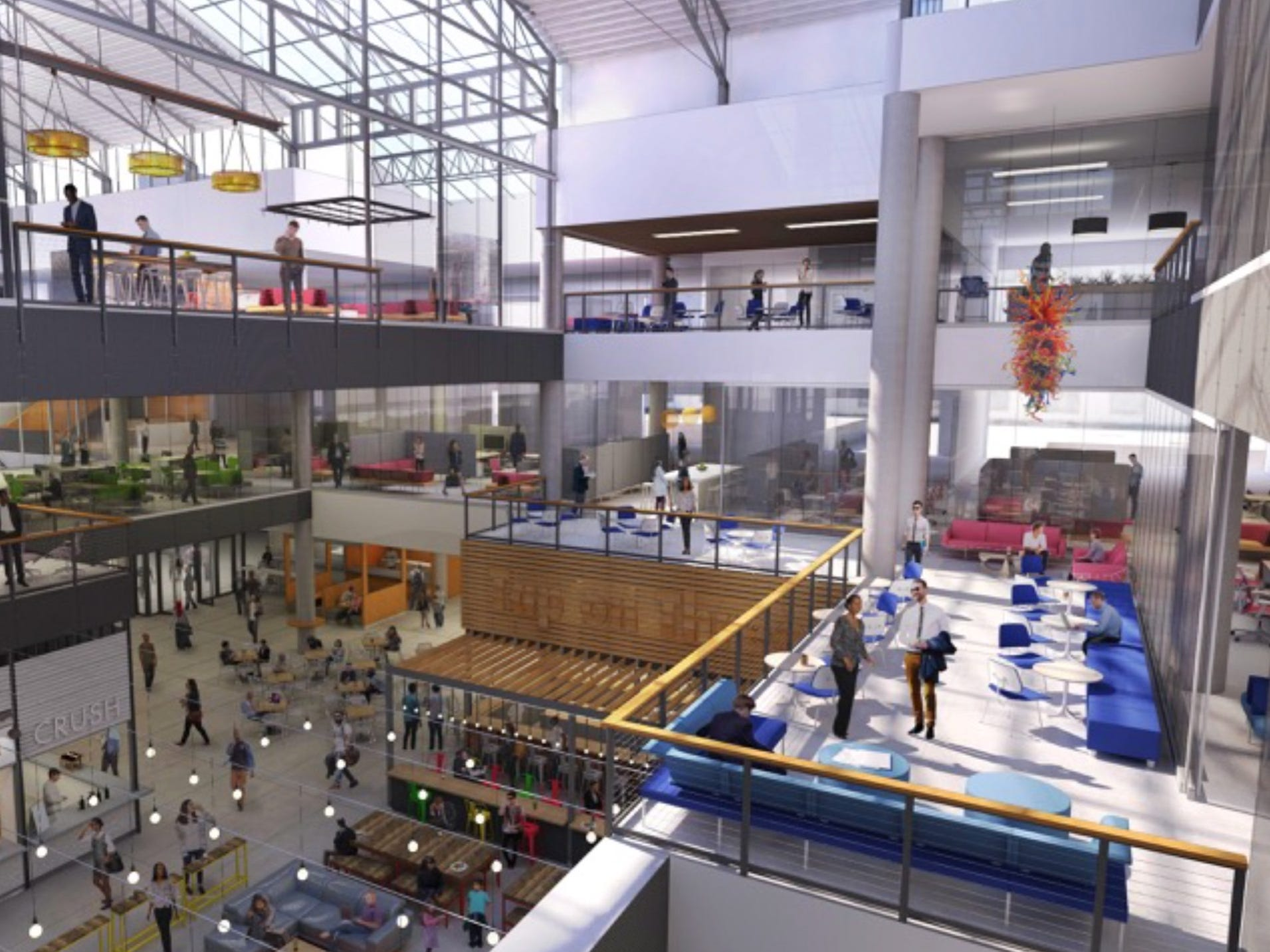 The plan is to convert the Grand Avenue mall into a mix of offices, restaurants, a grocery store and other new uses for a dramatically different look for the property, especially its center court atrium.
