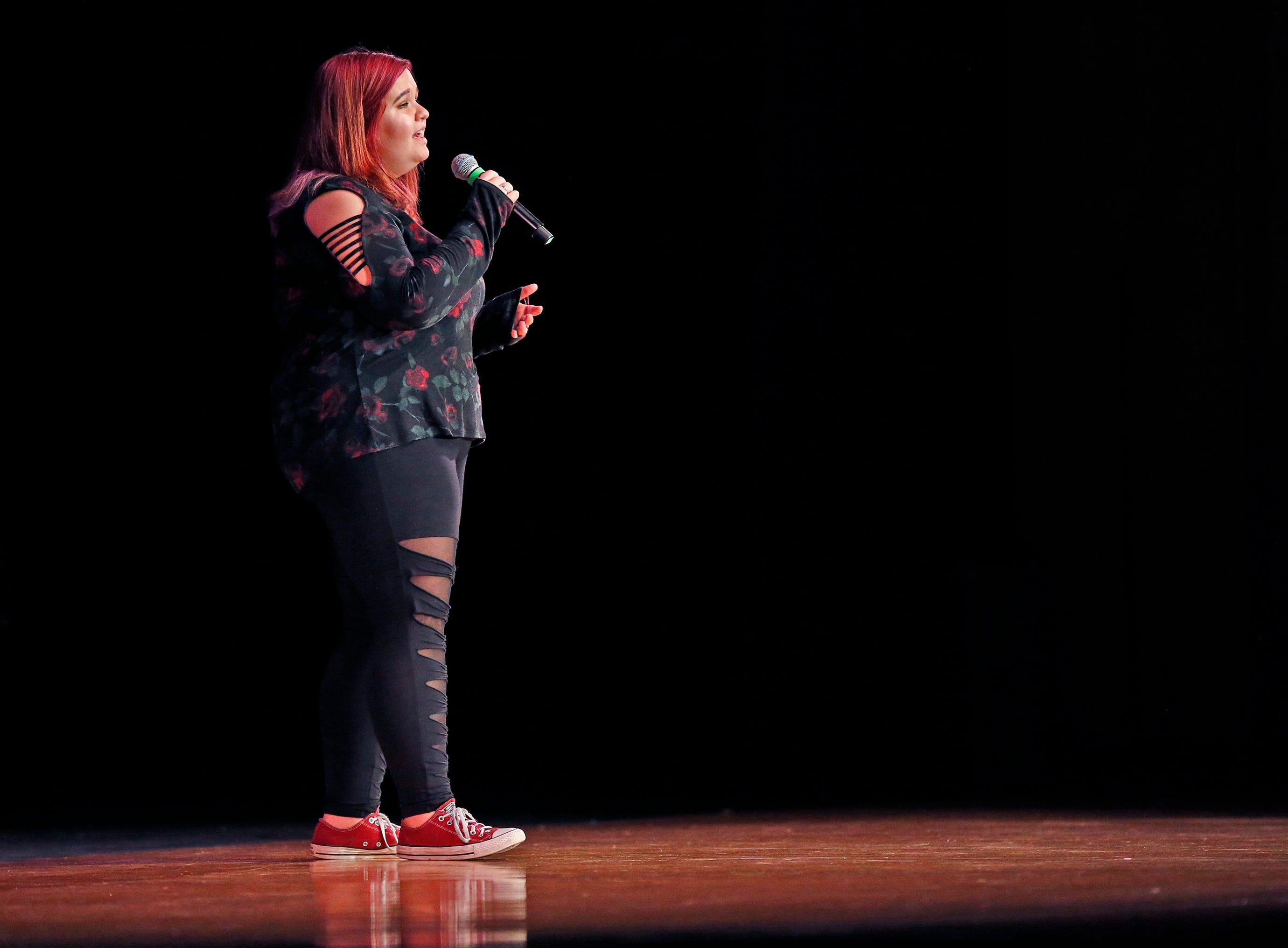 """Haille Krohn sings """"Somewhere Only We Know"""" during the 2018 Rocket Review to benefit the South Milwaukee High School Theatre Company at the Performing Arts Center on Dec. 20."""