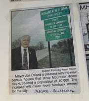Mountain Home had a listed population of 9,027 when this photo of Mayor Joe Dillard was shot in March 1998. The latest census numbers at that time  indicated that the city had recently broken the 10,000-resident mark.