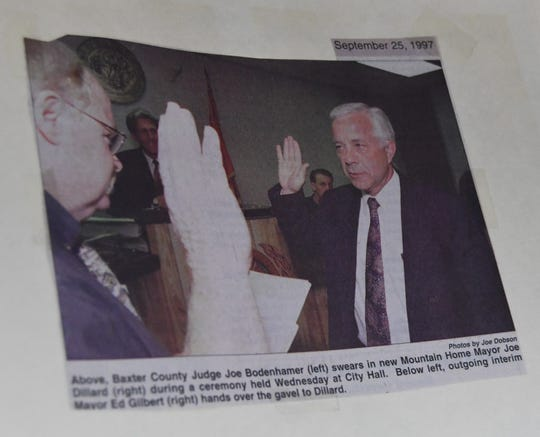 This newspaper clipping, on display at Mayor Joe Dillard's retirement reception on Dec. 7, shows the mayor being sworn into office in 1997.