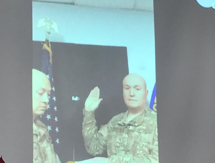 Parsippany police officer Jeffrey Magahan is promoted to sergeant via Skype from his U.S. Air Force deployment in Asia. Dec. 14, 2018