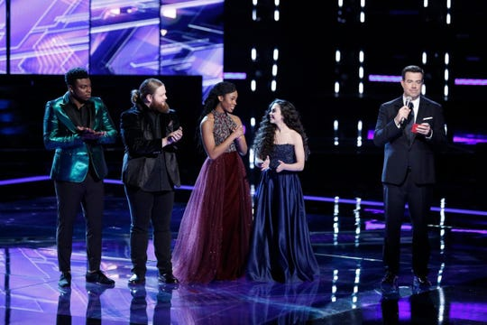 """From left, Kirk Jay, Chris Kroeze, Kennedy Holmes, and Chevel Shepherd, await the finale results from """"The Voice"""" host Carson Daly on Tuesday, Dec. 18 2018."""