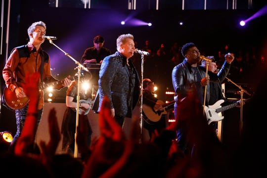 """Kirk Jay performs with Rascal Flatts during """"The Voice"""" finals results show Tuesday, Dec. 18, 2018."""