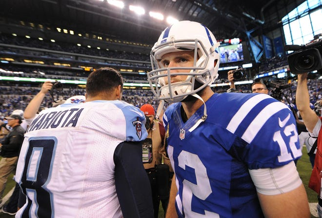 Nov 20, 2016: Colts 24, Titans 17 -- Indianapolis Colts quarterback Andrew Luck (12), right, shakes hands with Tennessee Titans quarterback Marcus Mariota (4) after the Colts defeated the Titans, 24-17 at Lucas Oil Stadium.