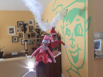 Jodi Bond writes: My parents live in Fort Myers and sent me your recent article. I thought you might enjoy these pics of our elves Trump (red) and Marnie (pink). My daughter, Piper, named them and we live in Winnipeg, Manitoba, Canada.
