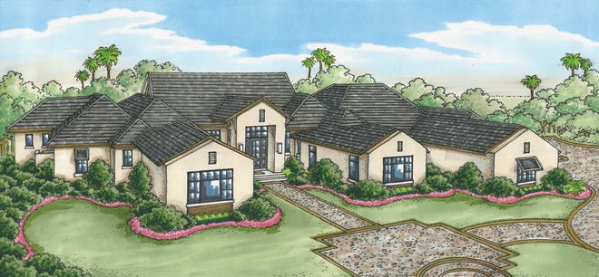 The Calista model by Stock Custom Homes offers a lake, preserve and golf course view.