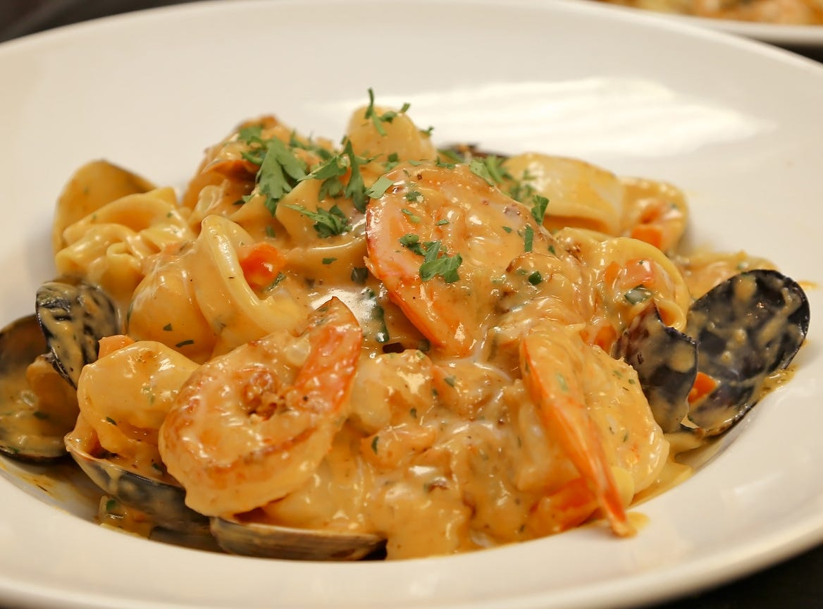 A seafood dish at the new La Trattoria on Fifth Avenue South in downtown Naples.