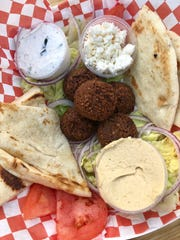 A falafel plate from Gyros2Go, a food truck at Celebration Park.
