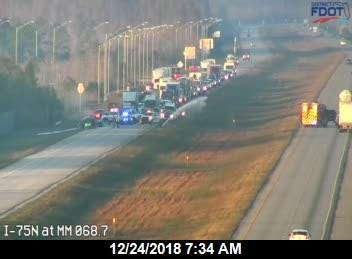 A vehicle fire blocked the southbound lanes of I-75 in Collier County at mile marker 69 on Monday, Dec. 24, 2018.