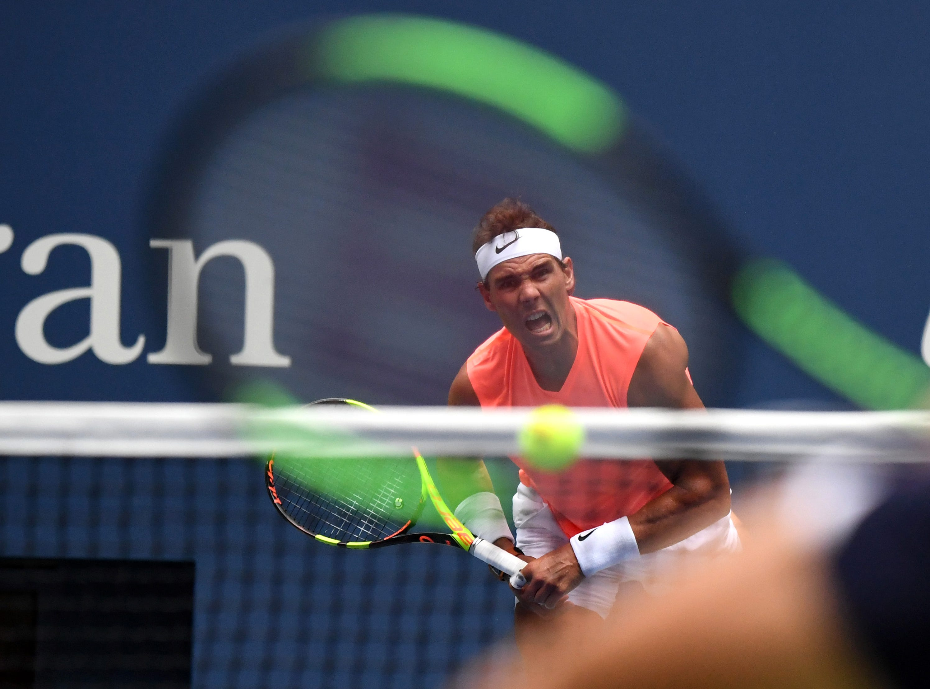 Aug 31, 2018; New York, NY, USA; Rafael Nadal of Spain serves to Karen Khachanov of Russia in a third round match on day five of the 2018 U.S. Open tennis tournament at USTA Billie Jean King National Tennis Center. Mandatory Credit: Danielle Parhizkaran-USA TODAY SPORTS