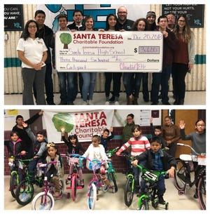Santa Teresa Charitable Foundation donated bikes to students in the Gadsden Independent School District's Elementary Schools and donated $3,600 to the Santa Teresa High School Architectural students.