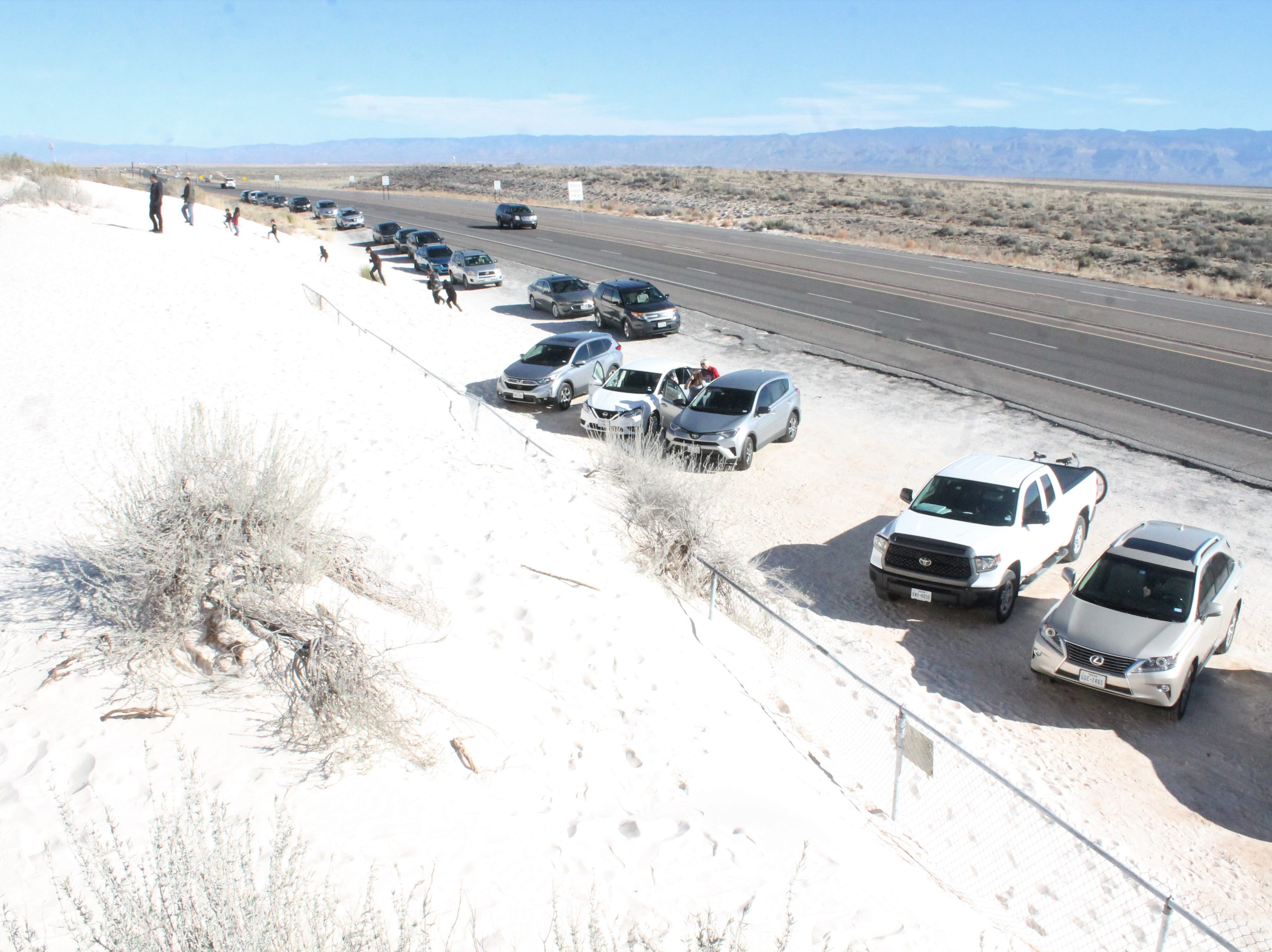 White Sands National Monument drew many unauthorized visitors Monday, Dec. 24, 2018, despite the monument being closed due to the government shutdown.