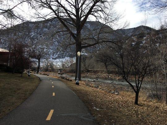 The Animas River flows along a trail Dec. 21 in Durango, Colorado.