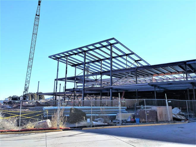 The steel skeleton of the replacement hospital takes shape at the Lincoln County medical Center.