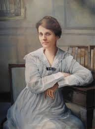 Painting of Edith Garland Dupre hanging  in the Dupre Library at ULL