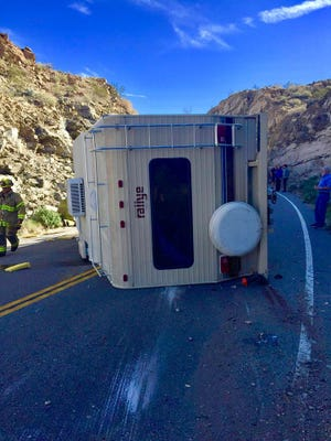 The California Highway Patrol is on scene of a motor home crash that has both lanes closed west of Cahuilla Way in Palm Desert.