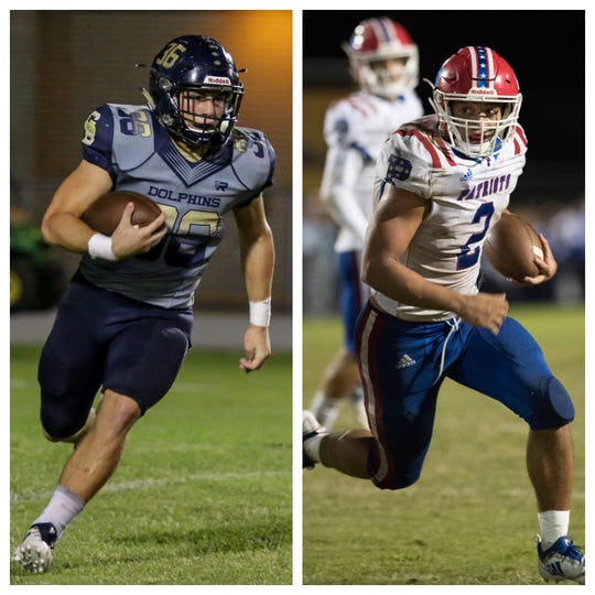 Gulf Breeze running back Tyler Dittmer (left) and Pace running back Damean Bivins (right) are the 2018 PNJ Co-Offensive Players of the Year.
