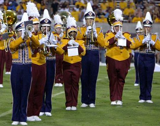 The ASU and LSU marching bands played together on Sept. 10, 2005 in a game moved to Tempe from Baton Rouge due to Hurricane Katrina.
