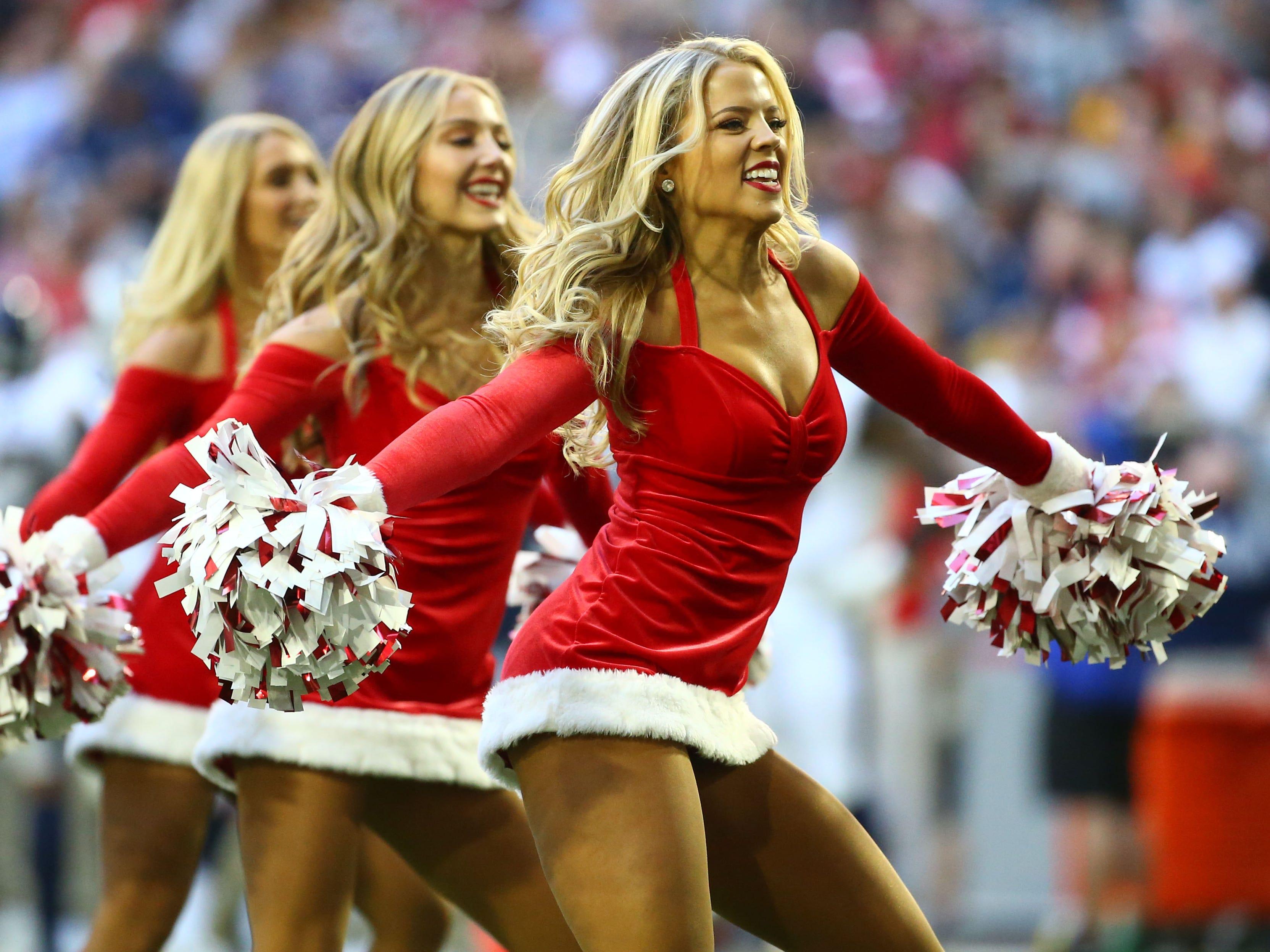 Arizona Cardinals cheerleaders perform in the second half on Dec. 23 at State Farm Stadium.