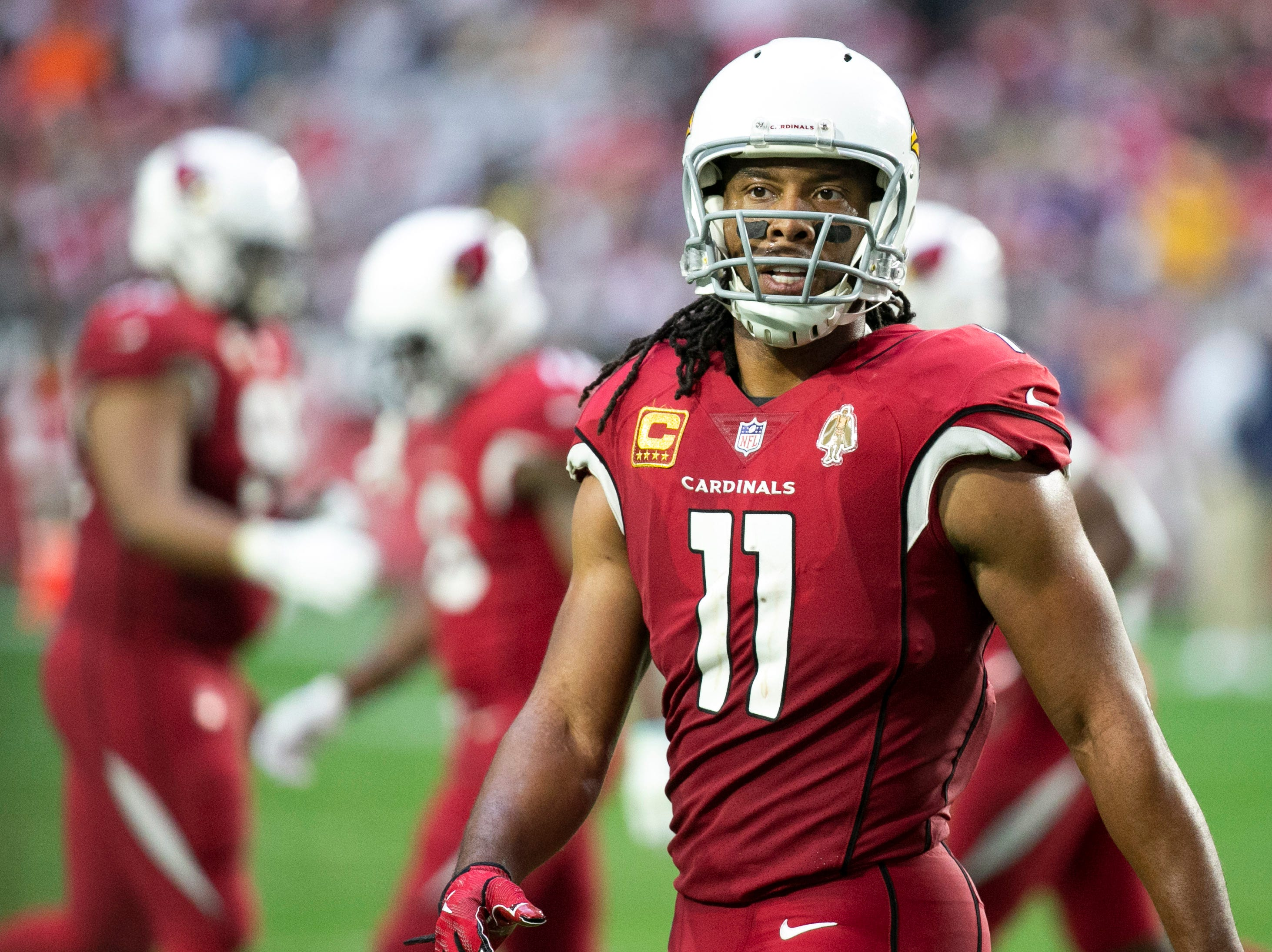 Cardinals wide receiver Larry Fitzgerald looks on during the fourth quarter of the NFL game against the Rams at State Farm Stadium in Glendale on Sunday, December 23, 2018.