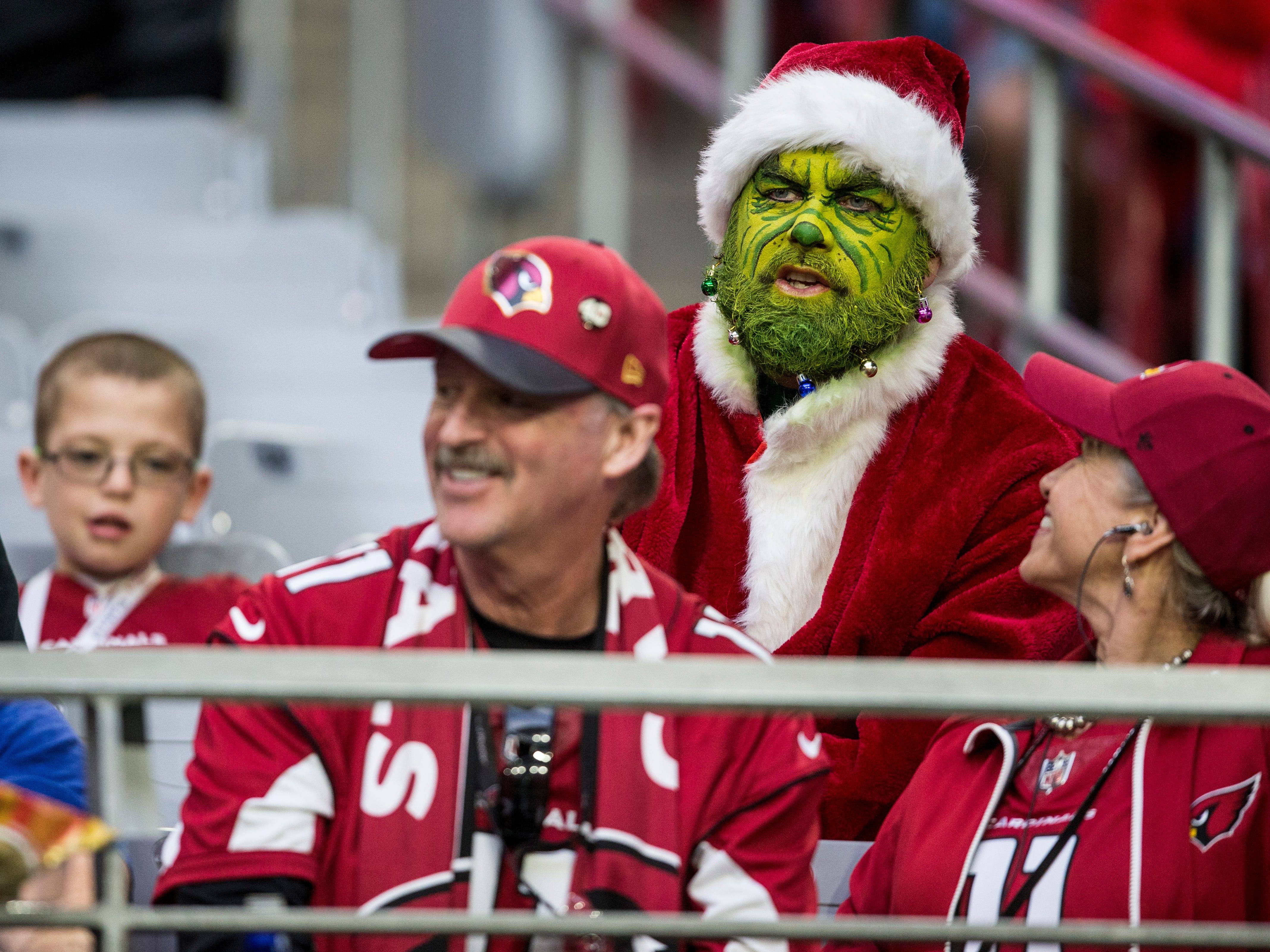 Cardinals fans watch the game against the Rams in the 2nd half on Sunday, Dec. 23, 2018, at State Farm Stadium in Glendale, Ariz.