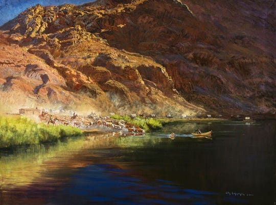 A painting depicts the Mesa Company wagon train and livestock crossing the Colorado River at Lees Ferry in 1877.