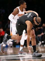 Dec 23, 2018; Brooklyn, NY, USA; Brooklyn Nets forward Jared Dudley (6) reacts in the first quarter against the Phoenix Suns at Barclays Center. Mandatory Credit: Nicole Sweet-USA TODAY Sports