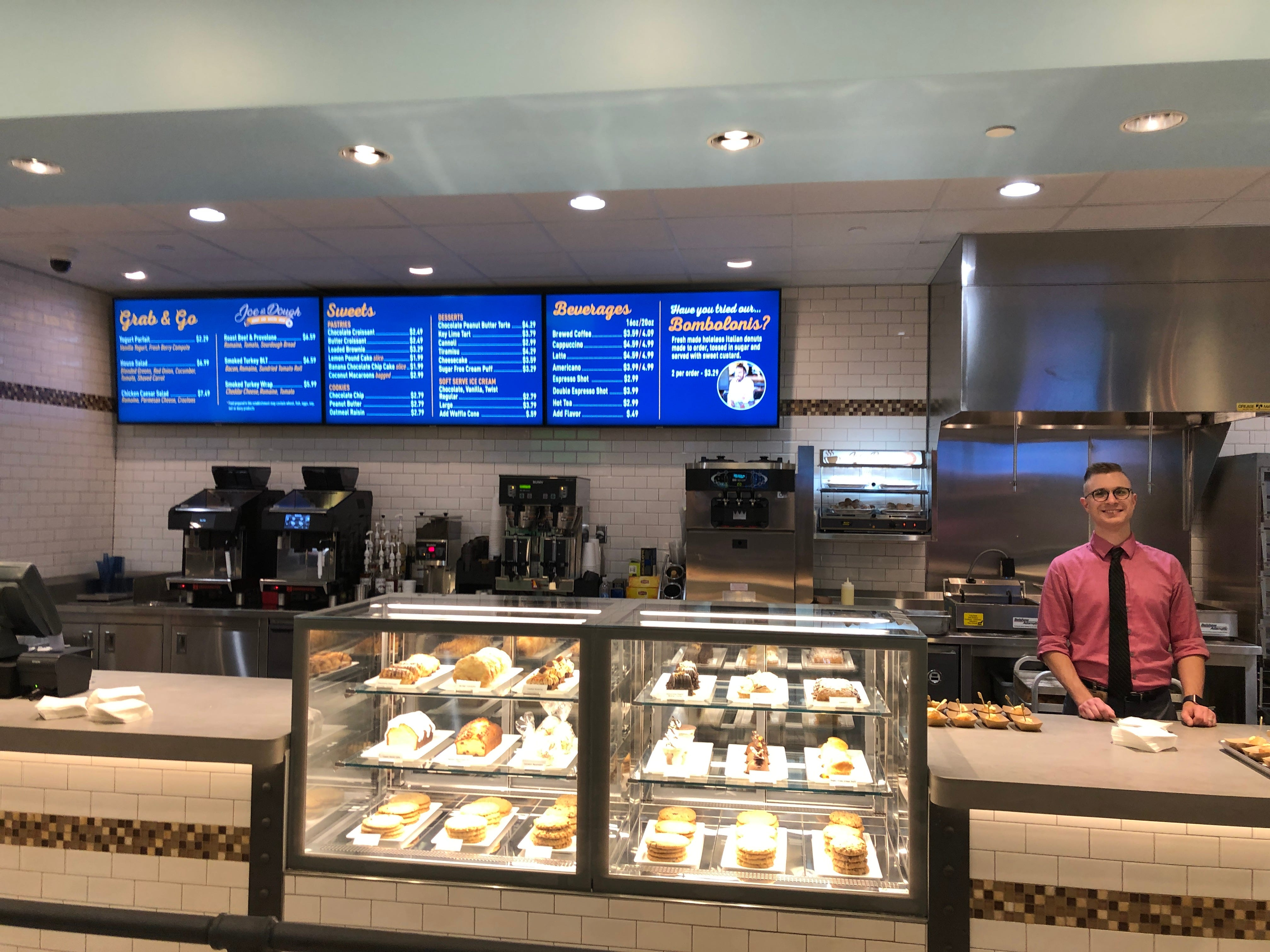 The counter at Joe & Dough, a spot in The Eatery where you can satisfy your sweet tooth.