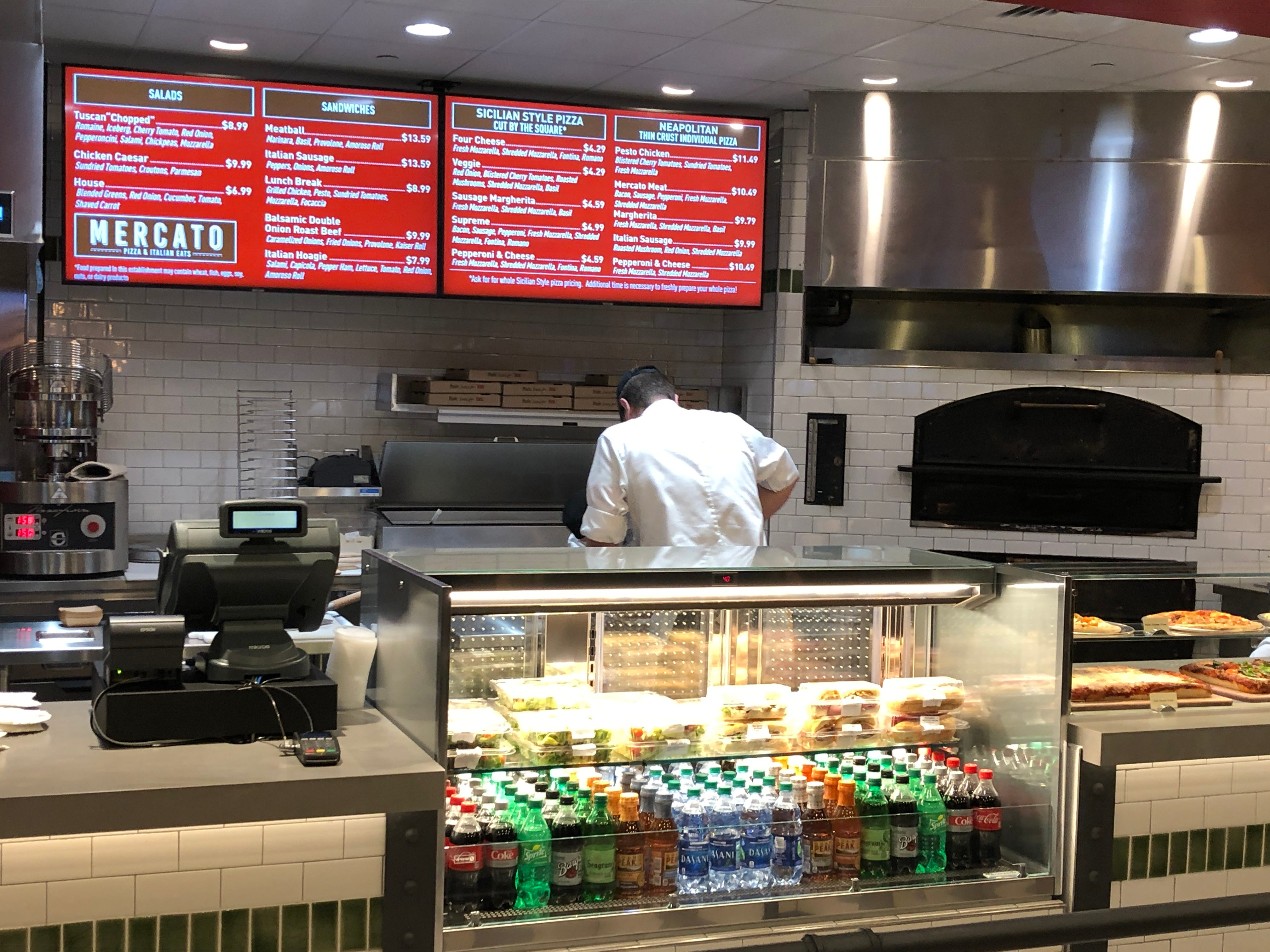 The counter and brick oven at Mercato, where you can get authentic Italian food at Hollywood Casino.