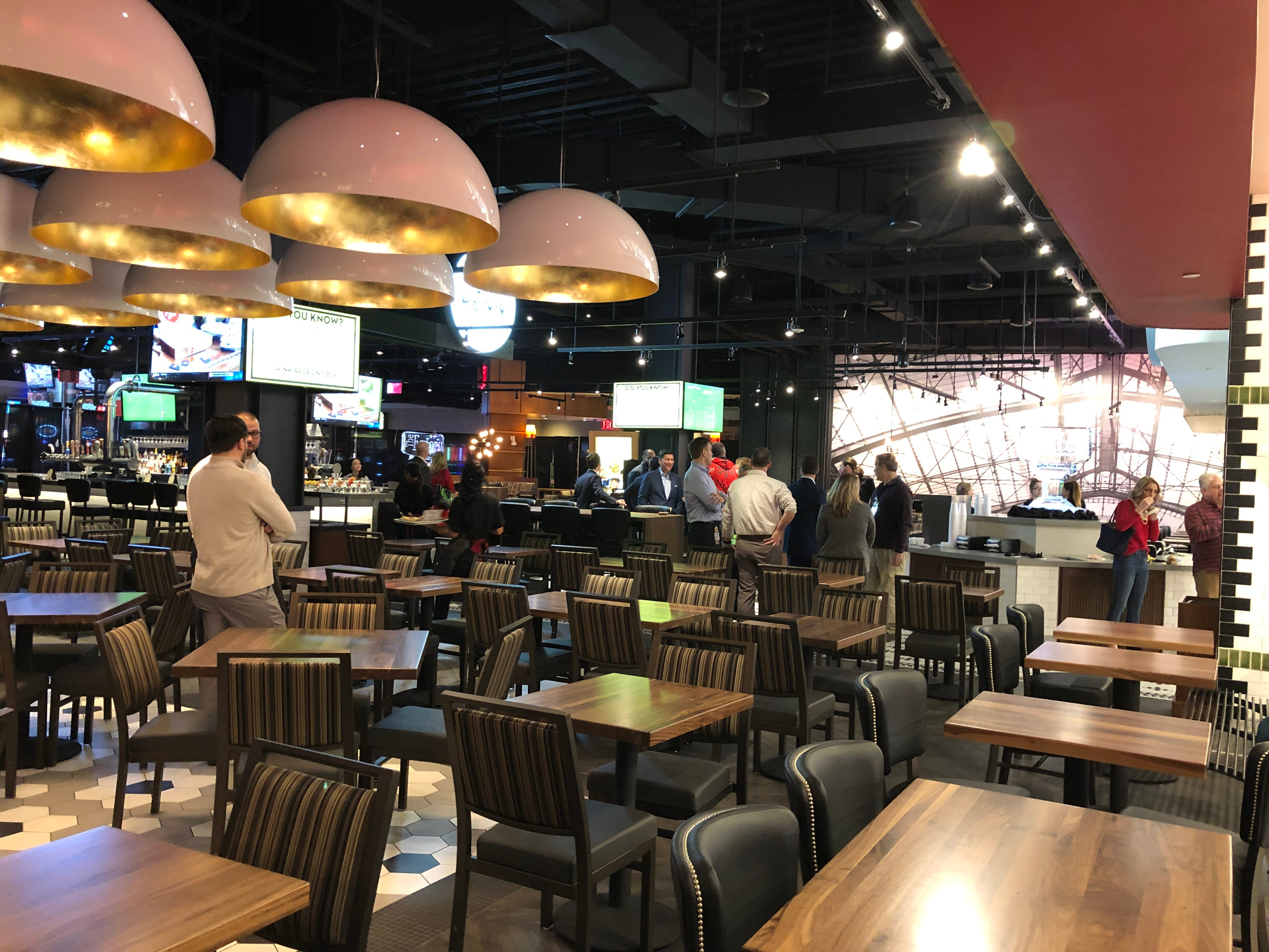 The Eatery is cafeteria style, with a large dining hall for customers to sit and have a bite to eat.