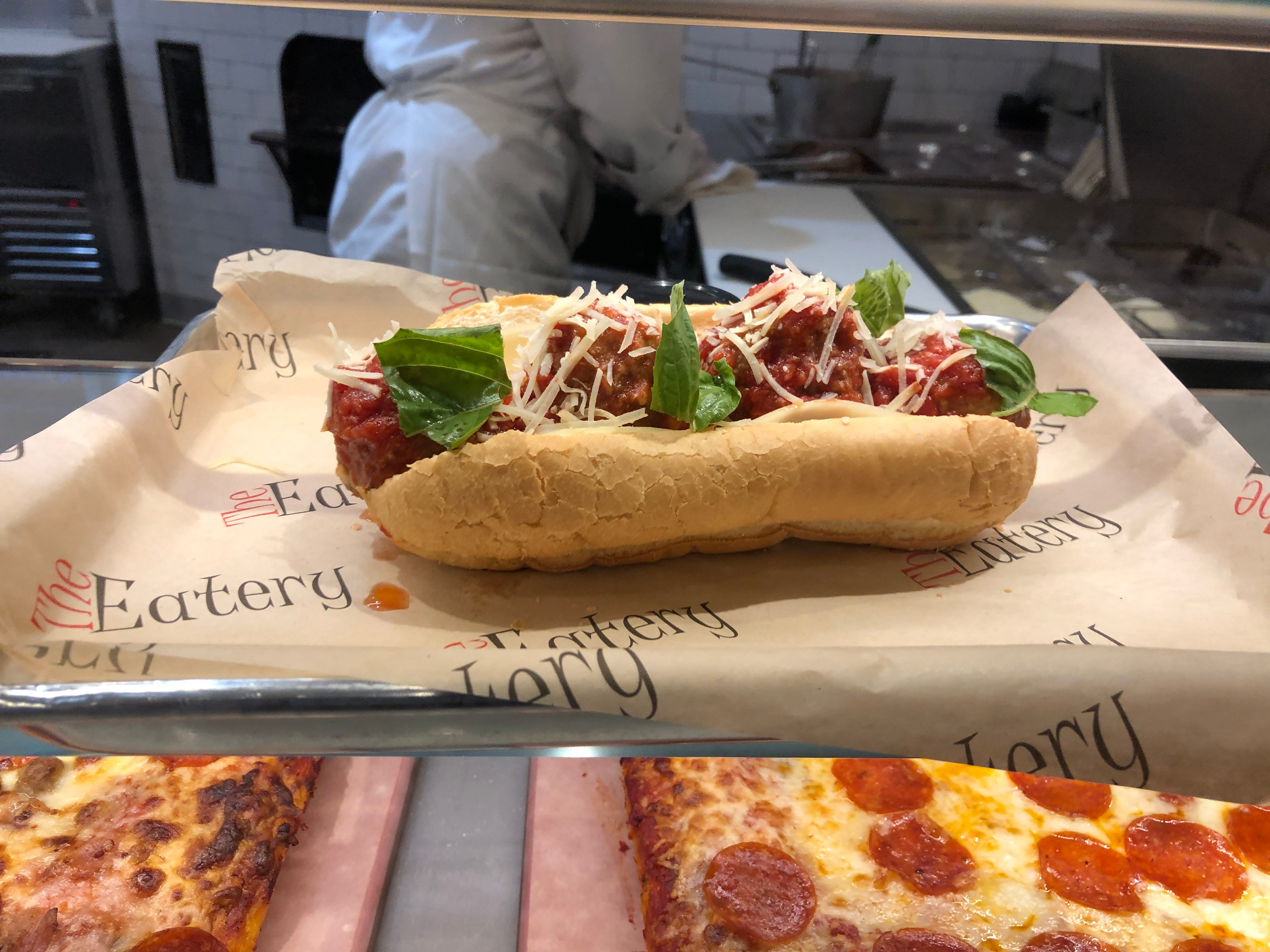 A delicious meatball sandwich at Mercato, part of The Eatery inside Hollywood Casino.